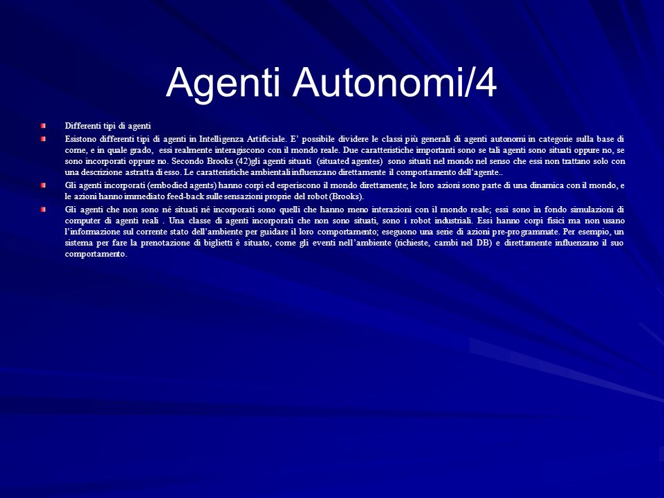 Agenti Autonomi/4 Differenti tipi di agenti