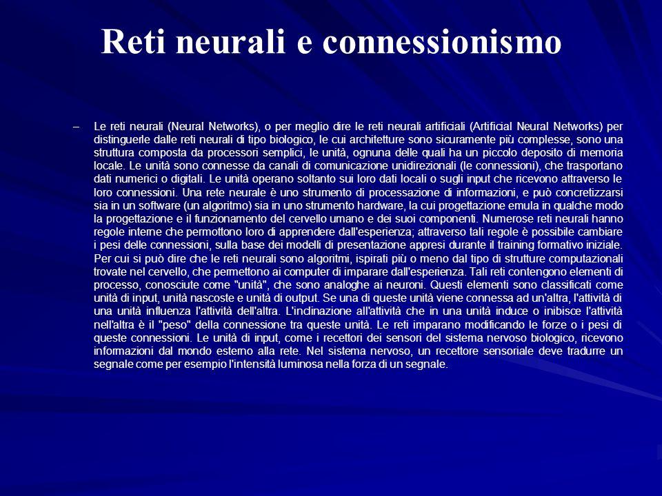 Reti neurali e connessionismo