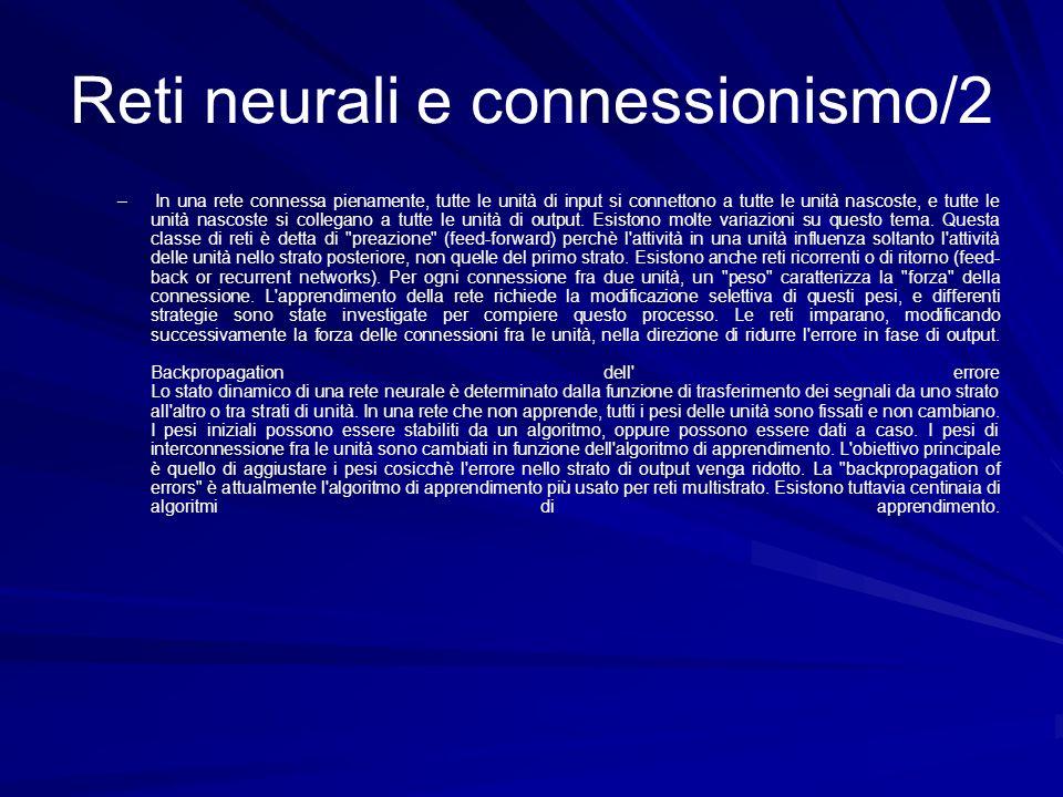Reti neurali e connessionismo/2