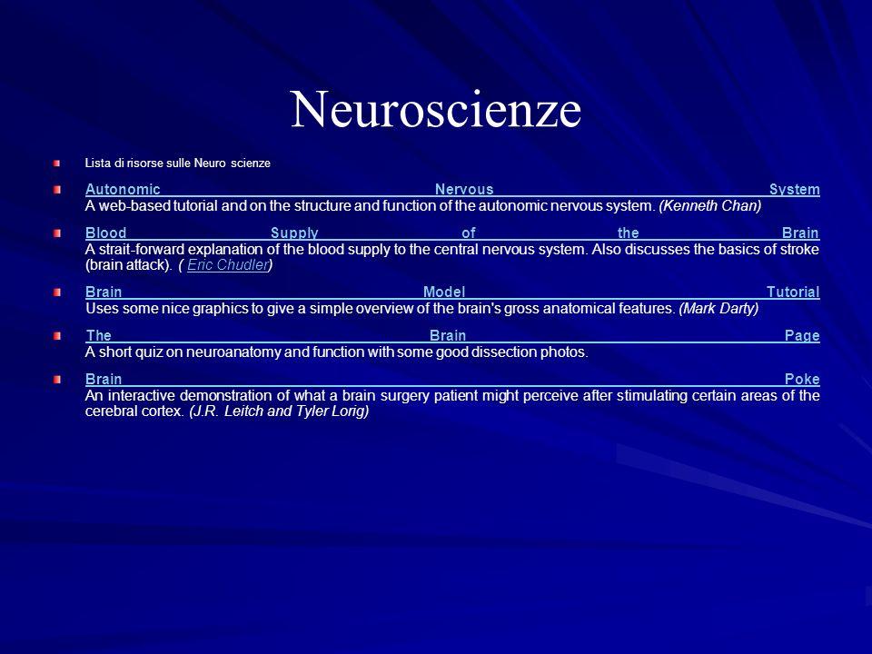 NeuroscienzeLista di risorse sulle Neuro scienze.