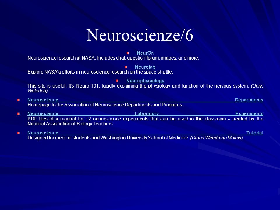 Neuroscienze/6 NeurOn Neuroscience research at NASA. Includes chat, question forum, images, and more.