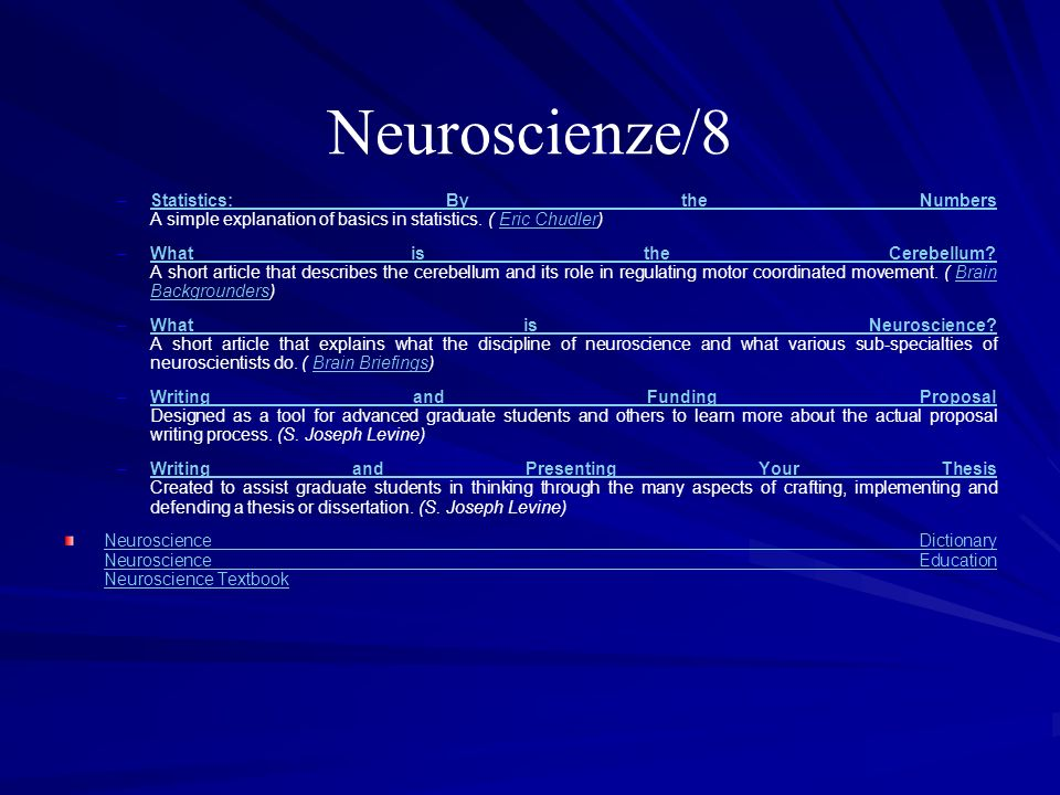 Neuroscienze/8Statistics: By the Numbers A simple explanation of basics in statistics. ( Eric Chudler)