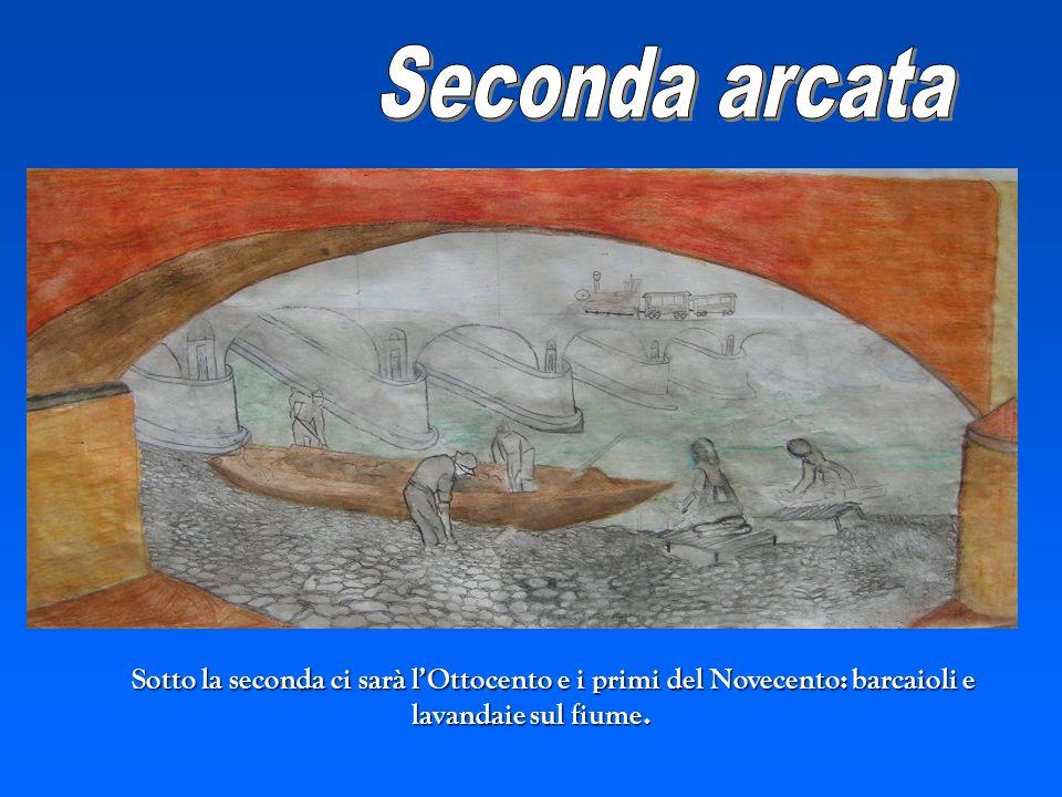 Seconda arcata Sotto la seconda ci sarà l'Ottocento e i primi del Novecento: barcaioli e lavandaie sul fiume.