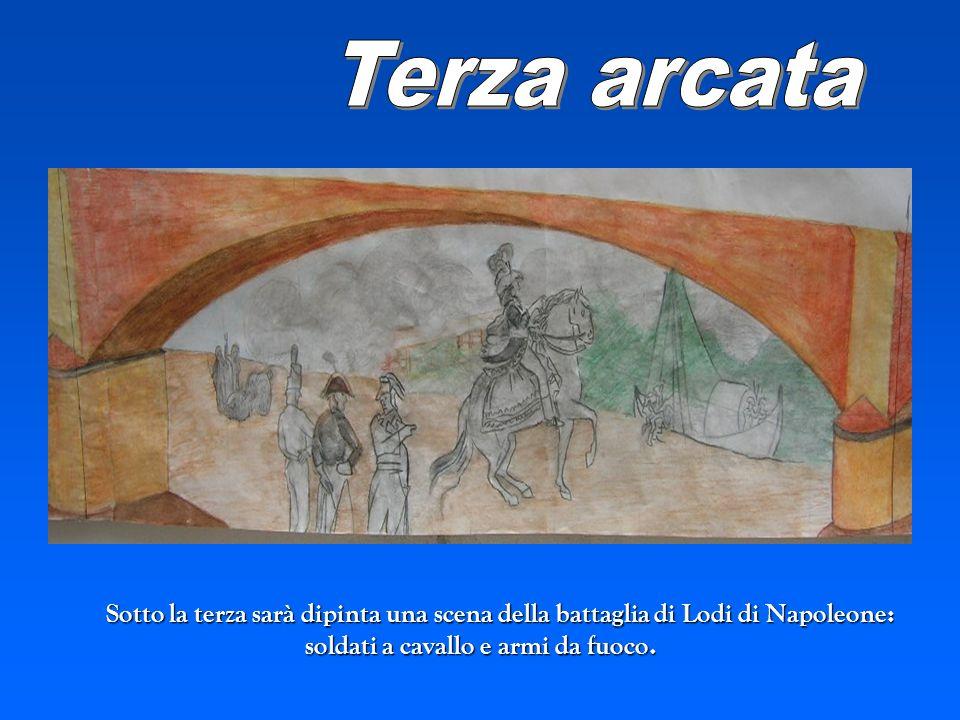 Terza arcata Sotto la terza sarà dipinta una scena della battaglia di Lodi di Napoleone: soldati a cavallo e armi da fuoco.