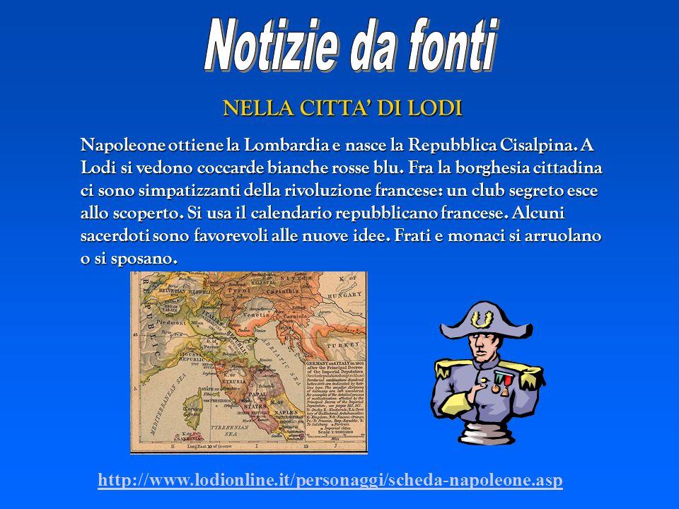 Notizie da fonti NELLA CITTA' DI LODI