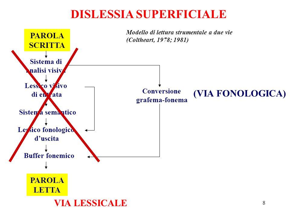 DISLESSIA SUPERFICIALE Sistema di analisi visiva