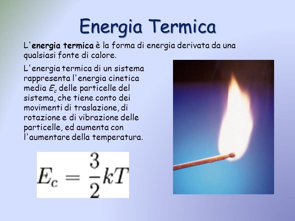 Energia Termica L energia termica è la forma di energia derivata da una qualsiasi fonte di calore.