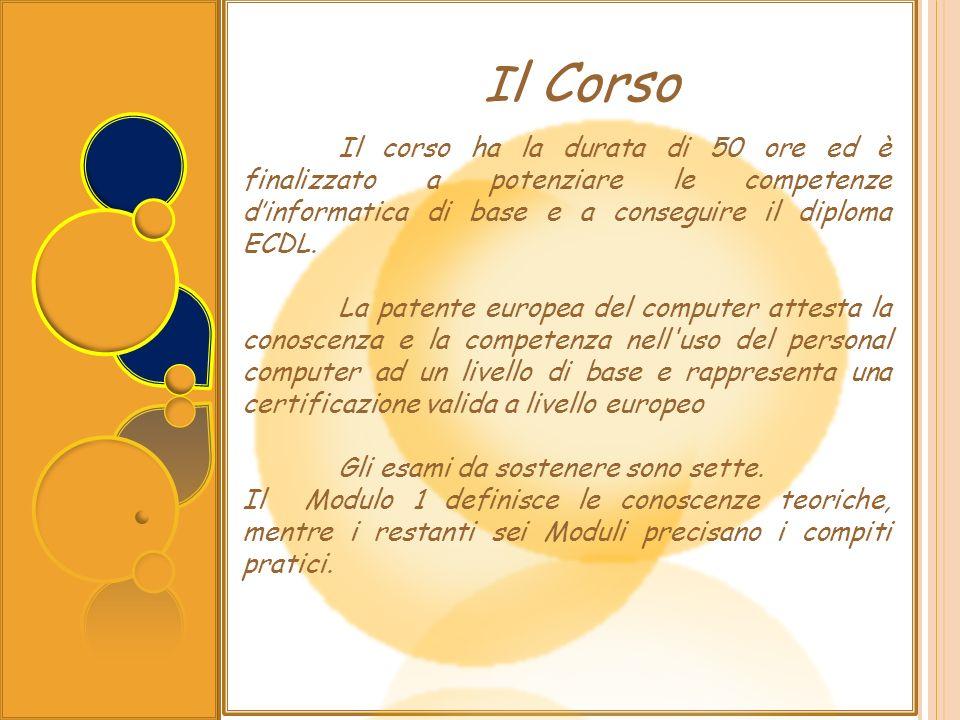 Il Corso Il corso ha la durata di 50 ore ed è finalizzato a potenziare le competenze d'informatica di base e a conseguire il diploma ECDL.