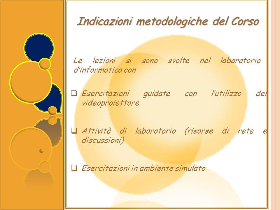 Indicazioni metodologiche del Corso