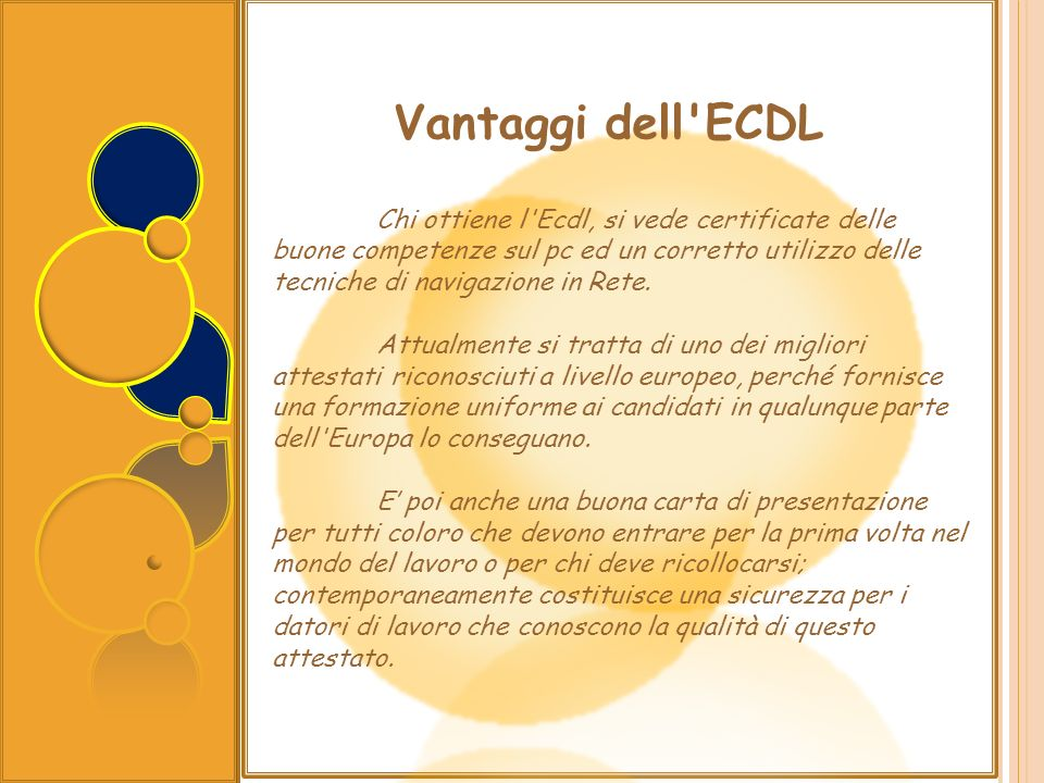 Vantaggi dell ECDL