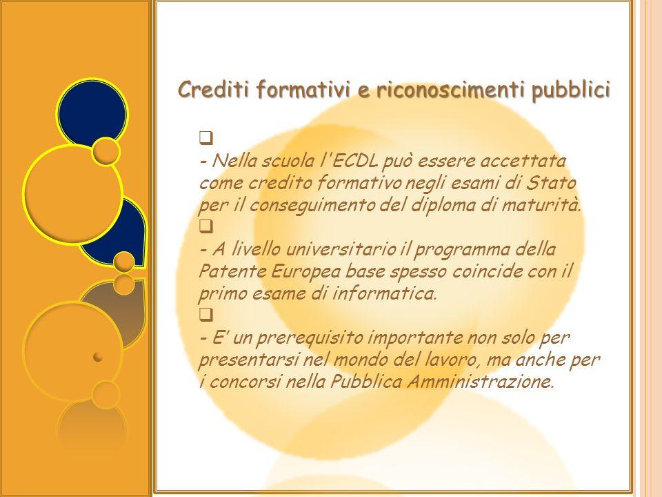 Crediti formativi e riconoscimenti pubblici