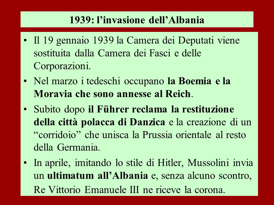 1939: l'invasione dell'Albania