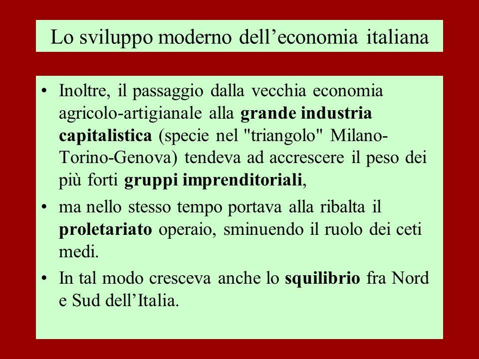 Lo sviluppo moderno dell'economia italiana