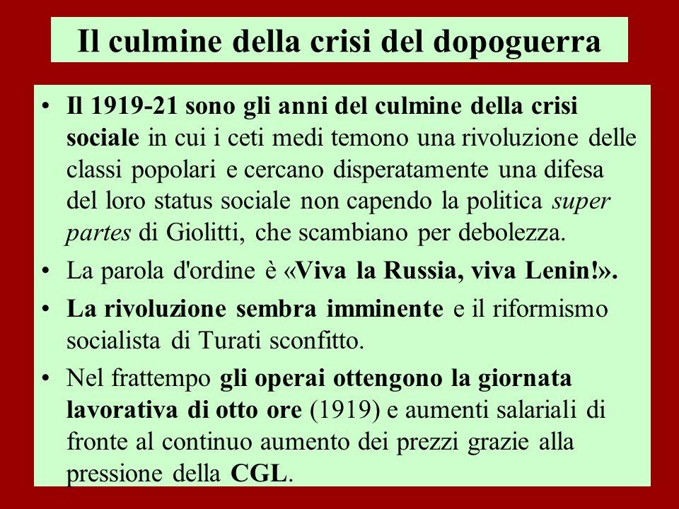 Il culmine della crisi del dopoguerra