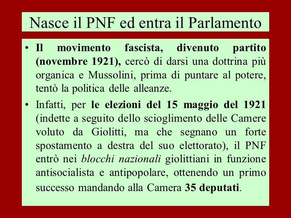 Nasce il PNF ed entra il Parlamento