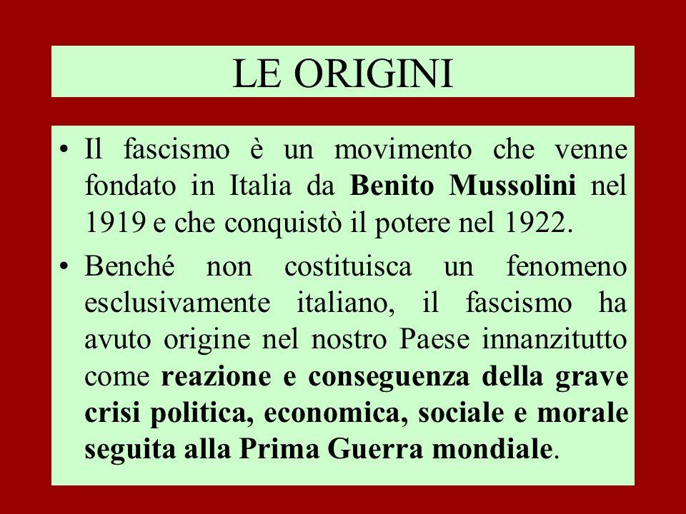 LE ORIGINI Il fascismo è un movimento che venne fondato in Italia da Benito Mussolini nel 1919 e che conquistò il potere nel 1922.