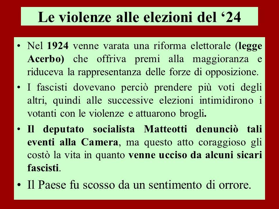 Le violenze alle elezioni del '24