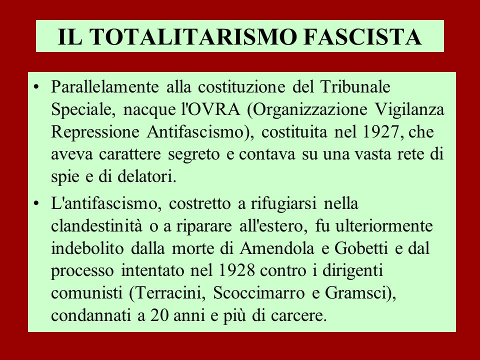 IL TOTALITARISMO FASCISTA