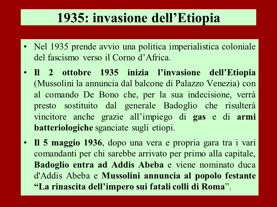 1935: invasione dell'Etiopia