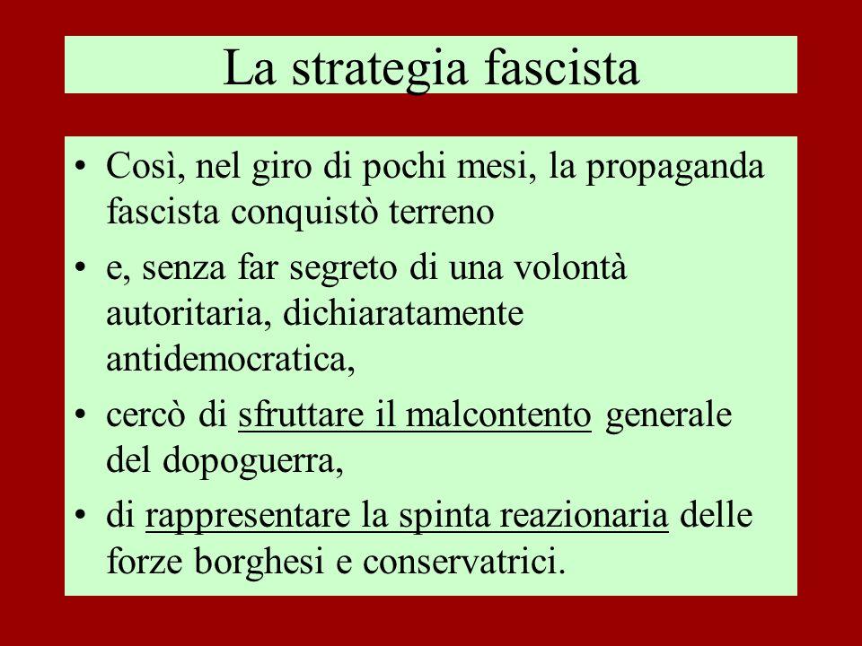 La strategia fascista Così, nel giro di pochi mesi, la propaganda fascista conquistò terreno.