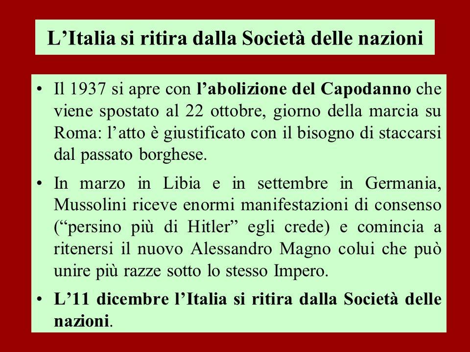 L'Italia si ritira dalla Società delle nazioni