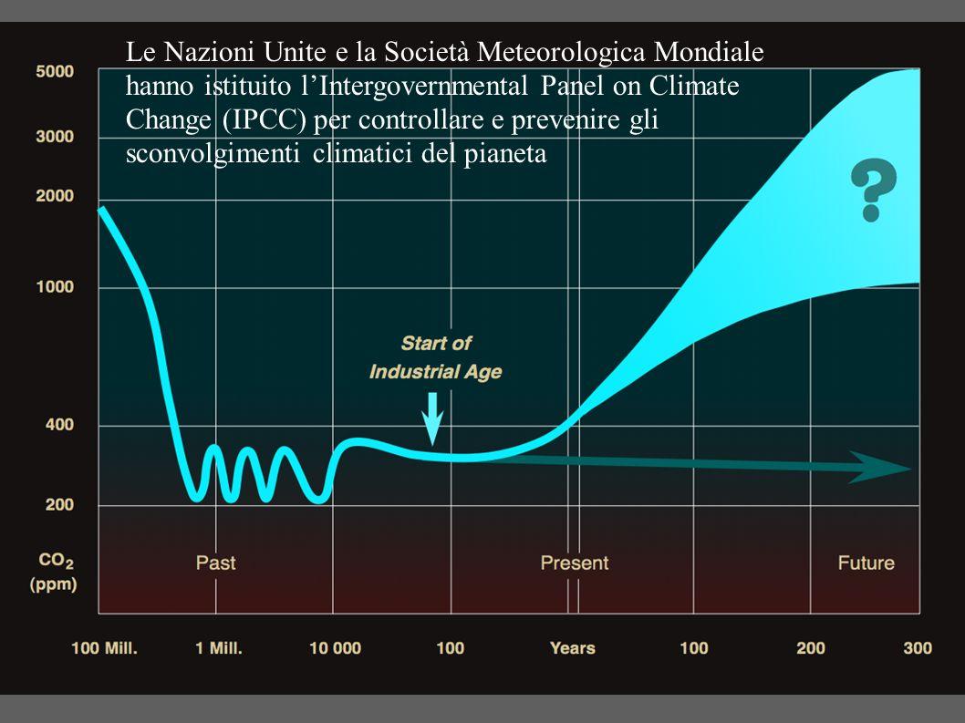 Le Nazioni Unite e la Società Meteorologica Mondiale hanno istituito l'Intergovernmental Panel on Climate Change (IPCC) per controllare e prevenire gli sconvolgimenti climatici del pianeta
