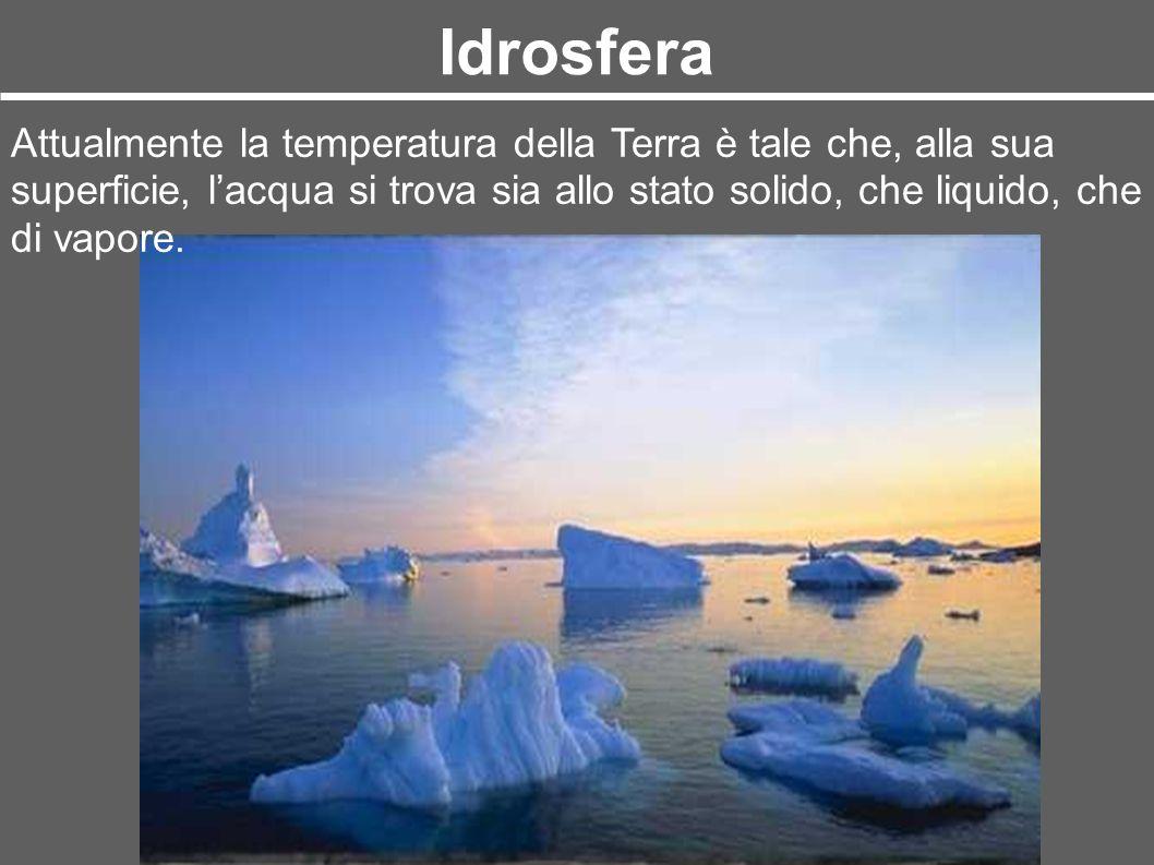 Idrosfera Attualmente la temperatura della Terra è tale che, alla sua superficie, l'acqua si trova sia allo stato solido, che liquido, che di vapore.