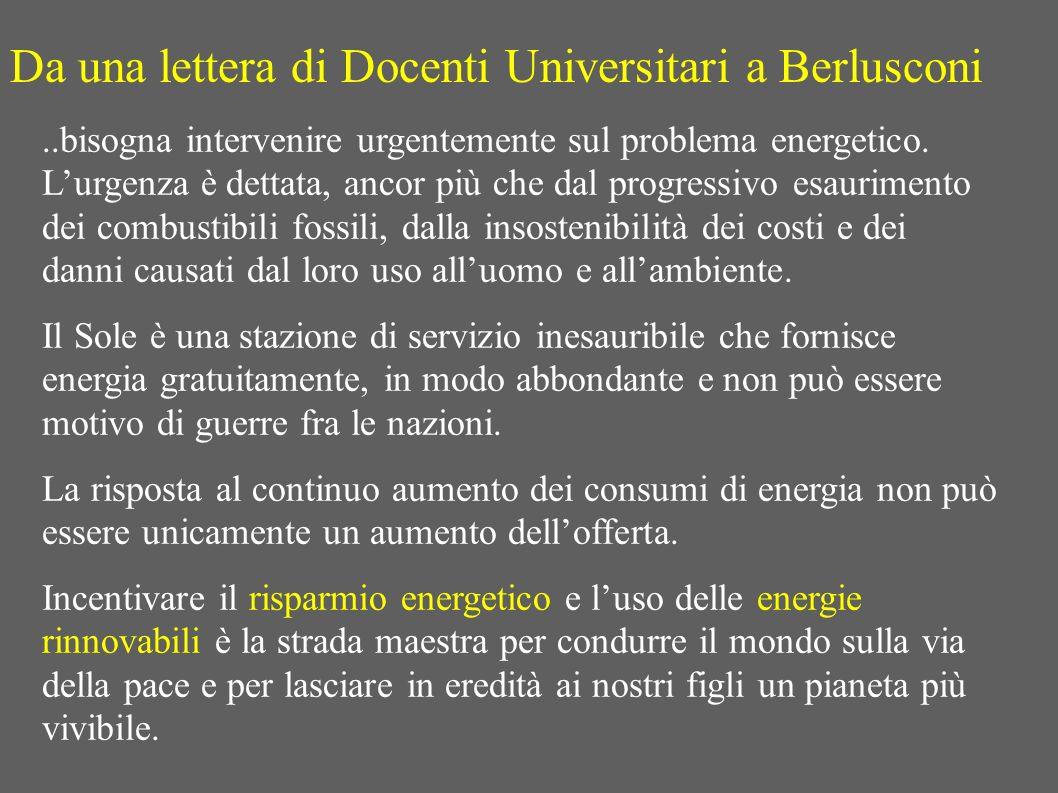 Da una lettera di Docenti Universitari a Berlusconi