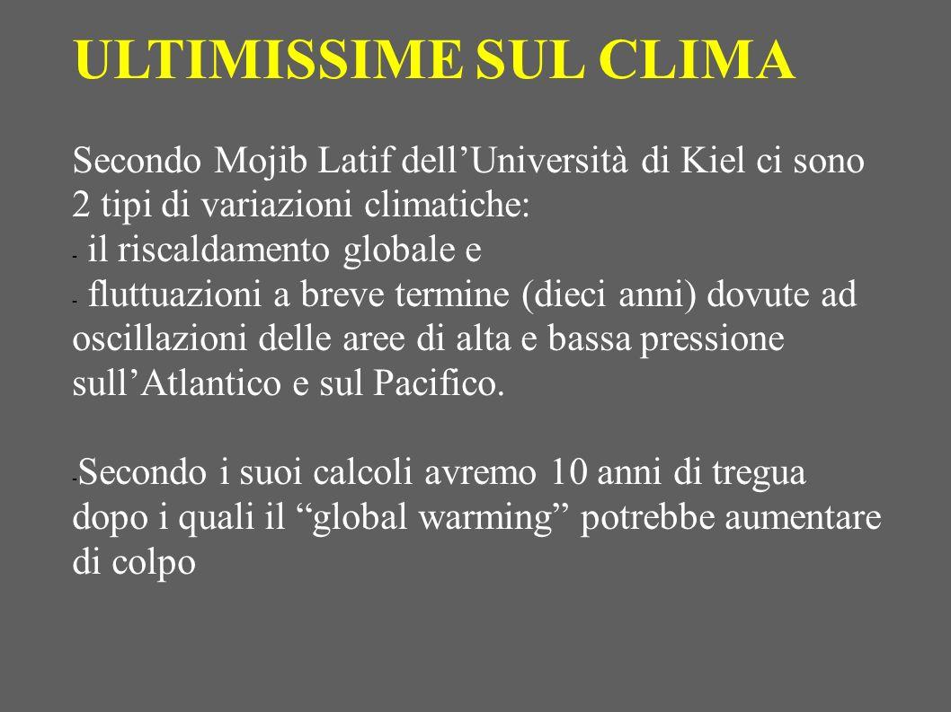 ULTIMISSIME SUL CLIMA Secondo Mojib Latif dell'Università di Kiel ci sono 2 tipi di variazioni climatiche: