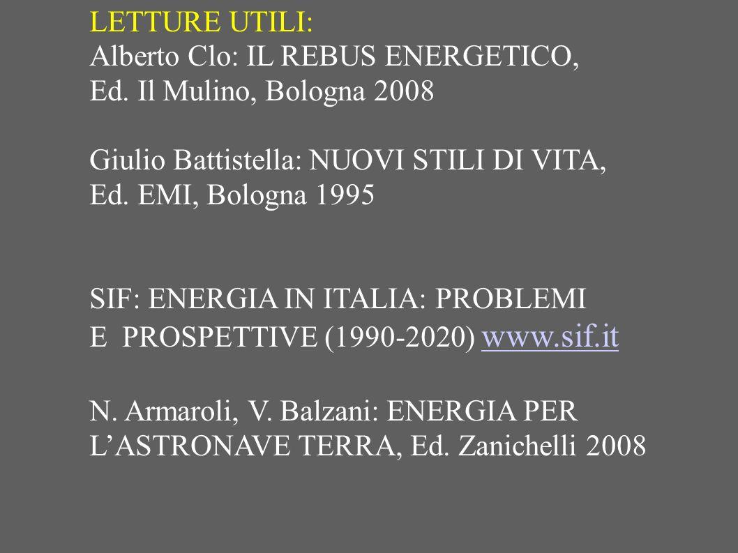 LETTURE UTILI: Alberto Clo: IL REBUS ENERGETICO, Ed. Il Mulino, Bologna 2008. Giulio Battistella: NUOVI STILI DI VITA,
