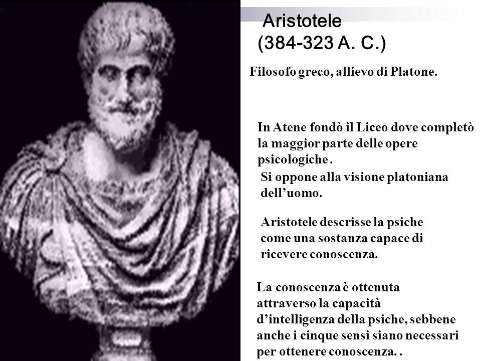 Aristotele (384-323 A. C.) Filosofo greco, allievo di Platone.