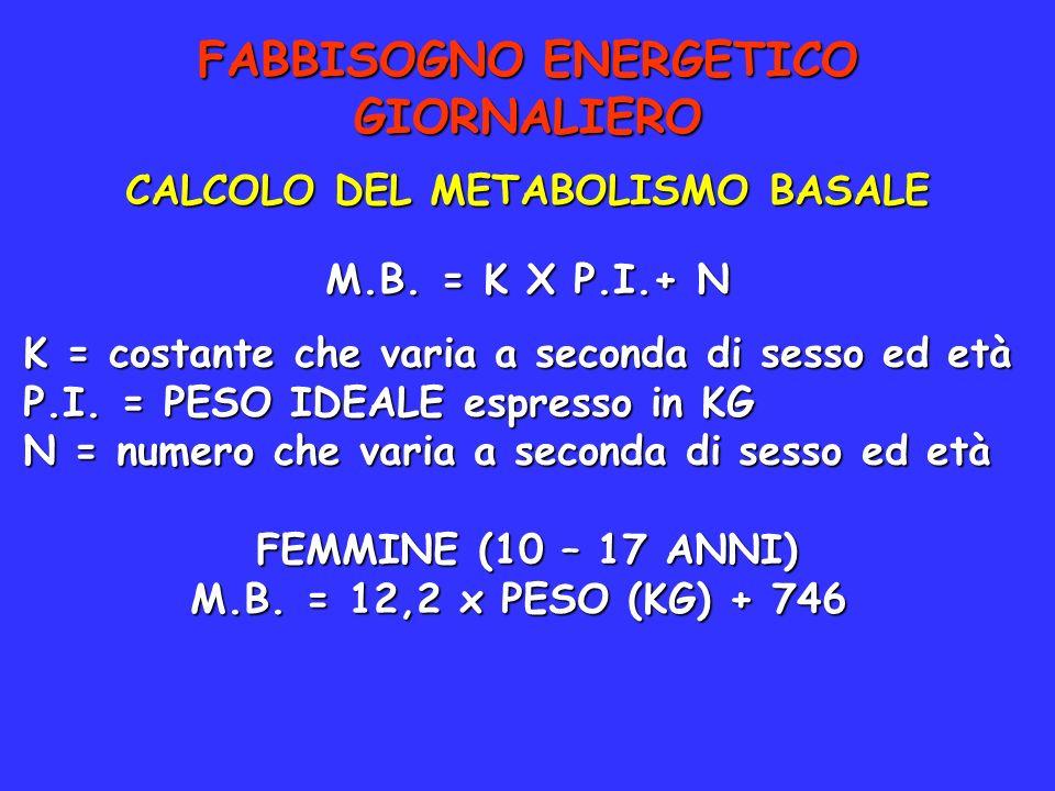 FABBISOGNO ENERGETICO GIORNALIERO