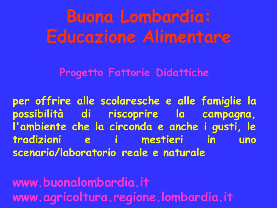 Buona Lombardia: Educazione Alimentare
