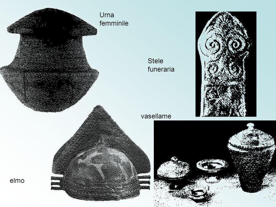 Urna femminile Stele funeraria vasellame elmo