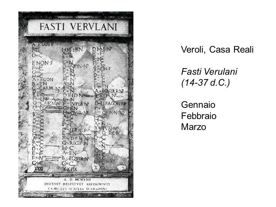Veroli, Casa Reali Fasti Verulani (14-37 d.C.) Gennaio Febbraio Marzo