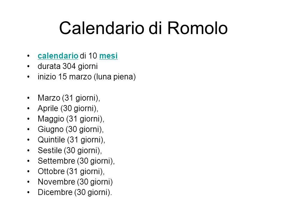 Calendario di Romolo calendario di 10 mesi durata 304 giorni