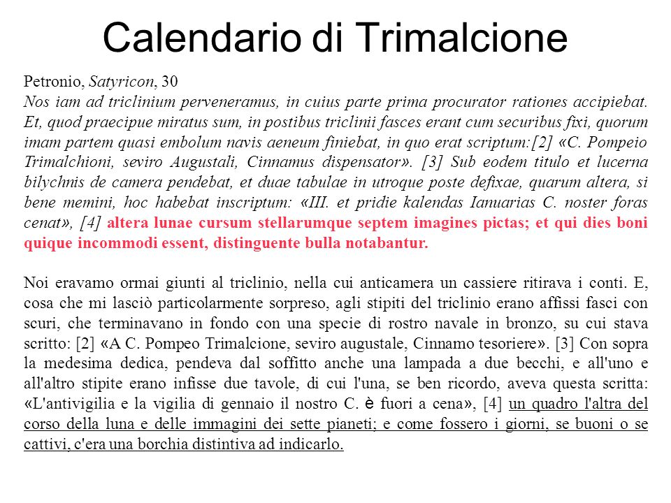 Calendario di Trimalcione