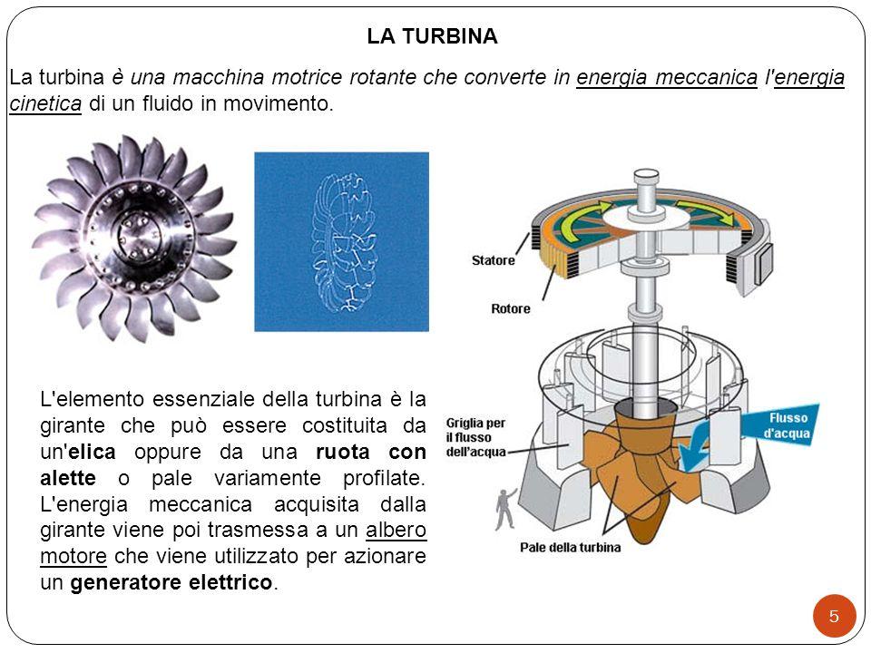 LA TURBINA La turbina è una macchina motrice rotante che converte in energia meccanica l energia cinetica di un fluido in movimento.