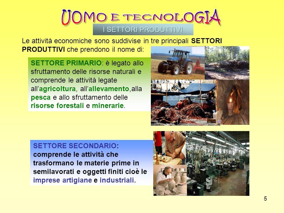 UOMO E TECNOLOGIA I SETTORI PRODUTTIVI