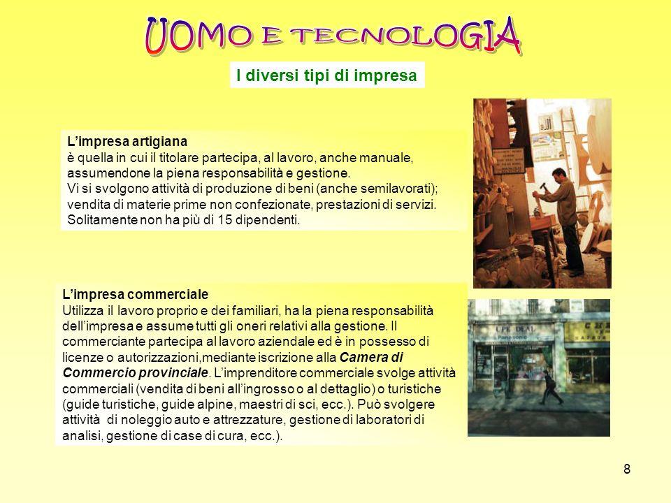 UOMO E TECNOLOGIA I diversi tipi di impresa L'impresa artigiana