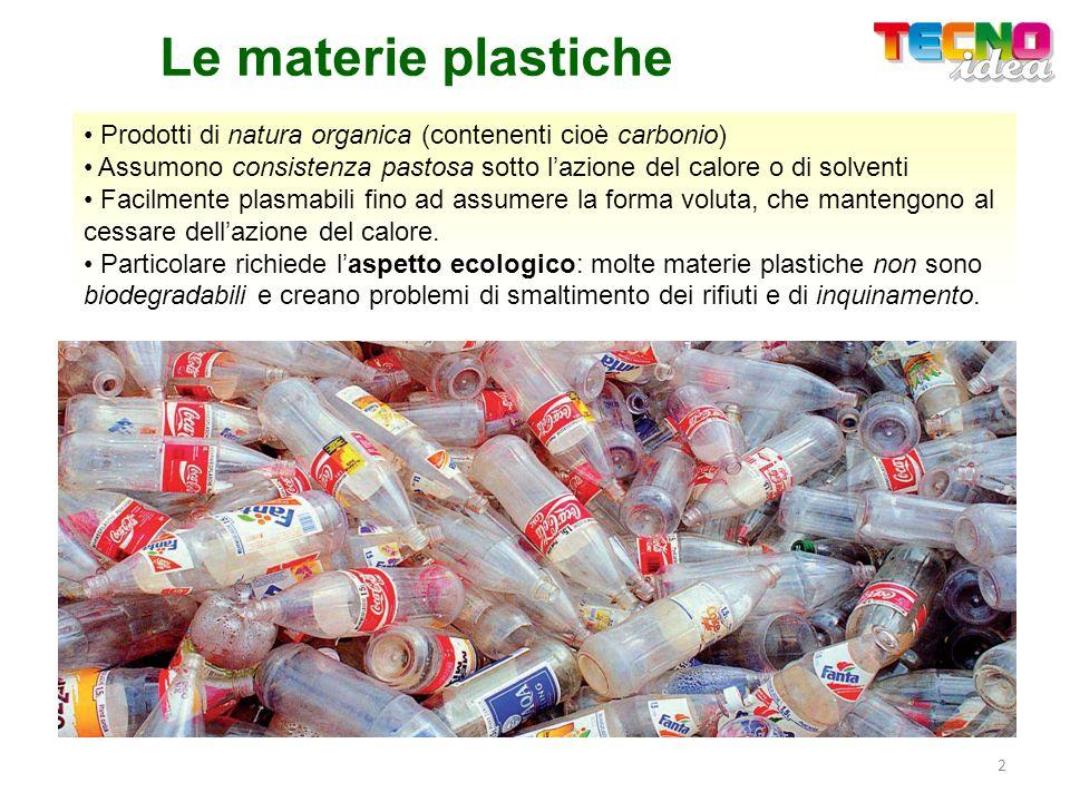 Le materie plastiche Prodotti di natura organica (contenenti cioè carbonio) Assumono consistenza pastosa sotto l'azione del calore o di solventi.