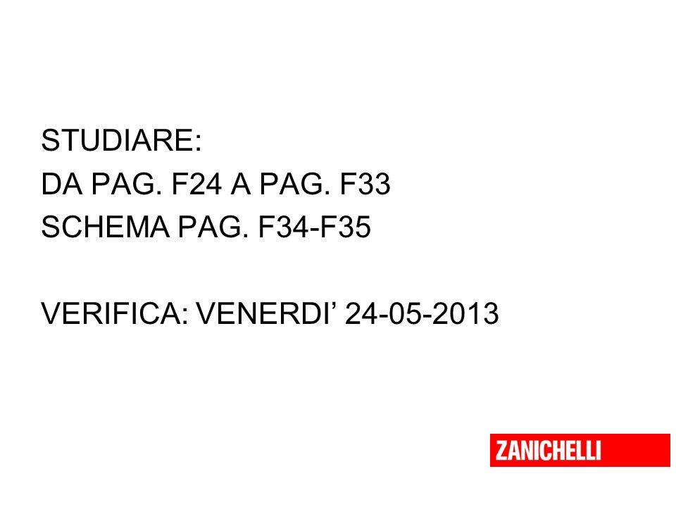 STUDIARE: DA PAG. F24 A PAG. F33 SCHEMA PAG. F34-F35 VERIFICA: VENERDI' 24-05-2013