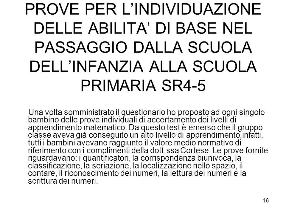 PROVE PER L'INDIVIDUAZIONE DELLE ABILITA' DI BASE NEL PASSAGGIO DALLA SCUOLA DELL'INFANZIA ALLA SCUOLA PRIMARIA SR4-5