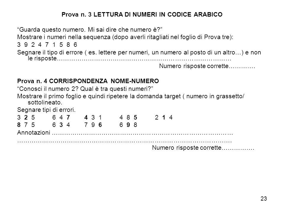Prova n. 3 LETTURA DI NUMERI IN CODICE ARABICO