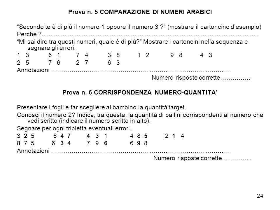Prova n. 5 COMPARAZIONE DI NUMERI ARABICI