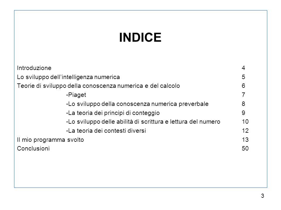 INDICE Introduzione 4 Lo sviluppo dell'intelligenza numerica 5