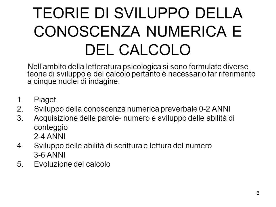 TEORIE DI SVILUPPO DELLA CONOSCENZA NUMERICA E DEL CALCOLO