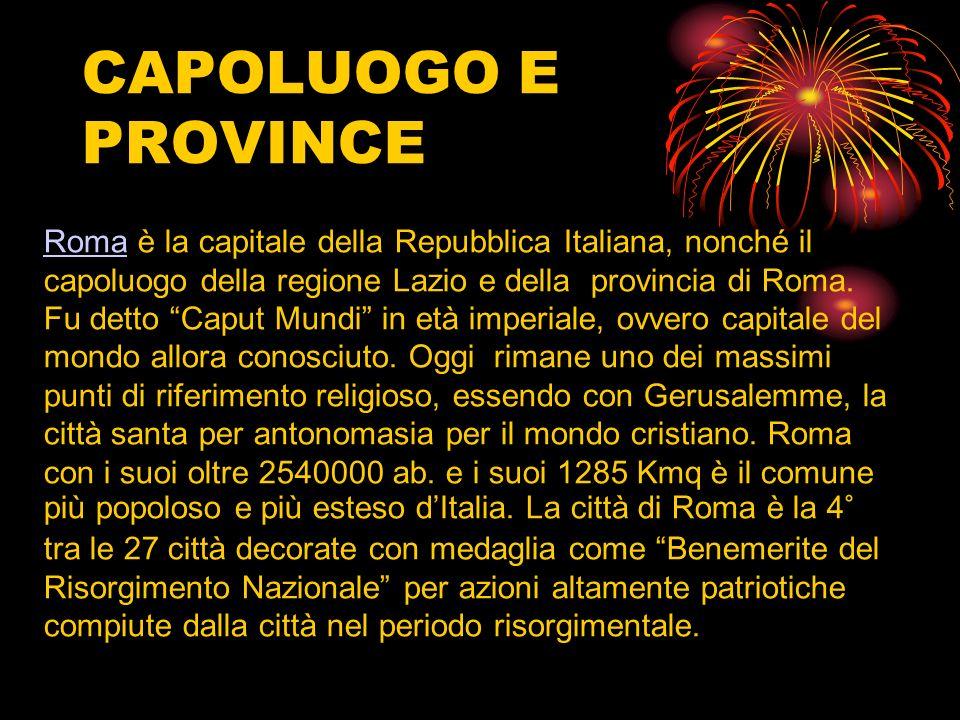 CAPOLUOGO E PROVINCE