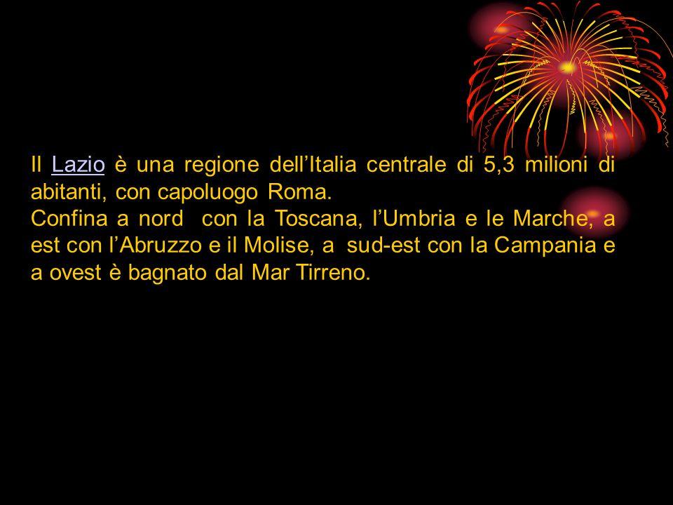 Il Lazio è una regione dell'Italia centrale di 5,3 milioni di abitanti, con capoluogo Roma.