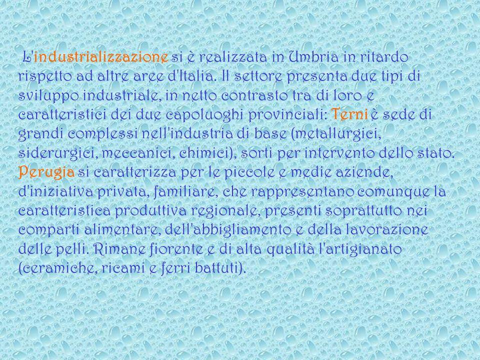 L industrializzazione si è realizzata in Umbria in ritardo rispetto ad altre aree d Italia.